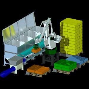 Automatisk säcktömning med robot, för alla typer av palleterade småsäckar