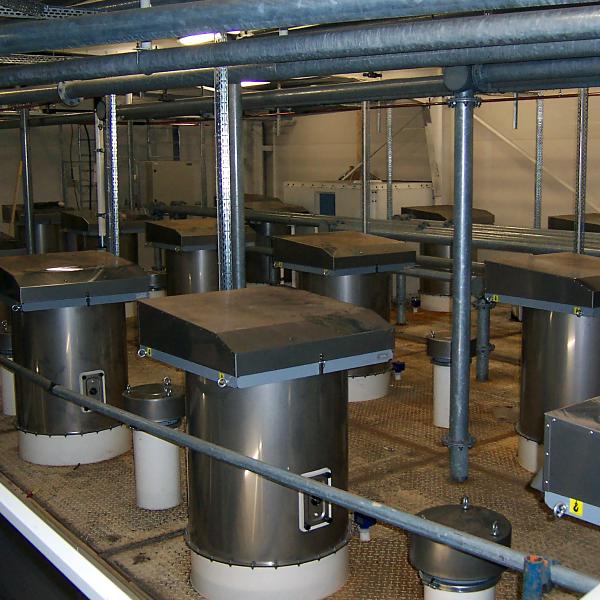silos i torrbruksfabrik med silofilter och säkerhetsventil
